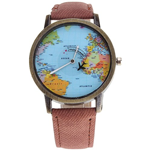 HuntGold Men Fashion Mini World Map Round Dial Plane Electronic Wristwatch Denim Leather Band Watch - - Round Face Male Hats For