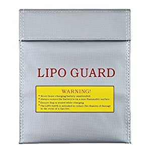 Leegoal Large LiPo Guard Battery Fireproof Safe Safety Charge Charging Pouch Case (Silver, Small)