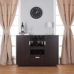 Furniture of America Mendocino Wine Cabinet Buffet, Espresso