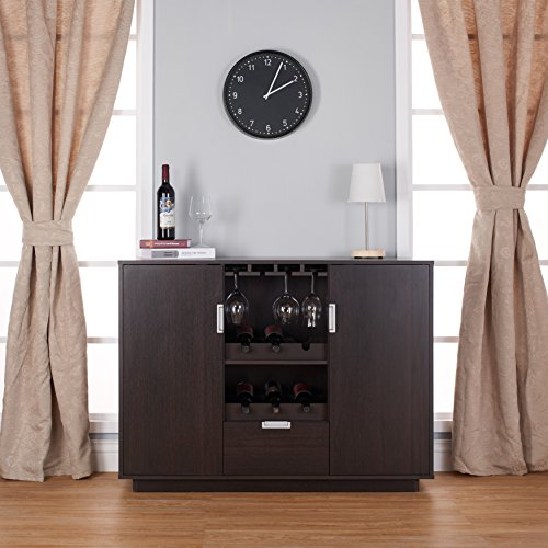 Furniture of America Mendocino Wine Cabinet Buffet, Espresso (Buffet Bar)