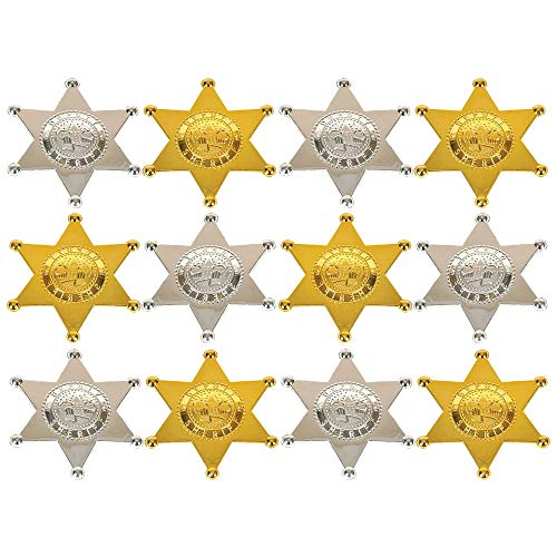 Kicko Plastic Deputy Sheriff Badge - Pack of 12 Personalized Officer Name Tag Brooch for Kids - Perfect for Law Enforcement Officer Costume, Cowboy Western Parties, Stage Play, Unique Party Bag Filler]()