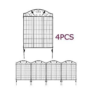 Amazon Com Black Steel Decorative Fence Panel 2 Leaves