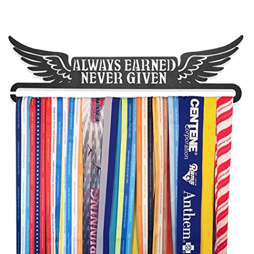 GoneForaRun ALWAYS EARNED NEVER GIVEN Runner's Race Medal Hanger (Award Medals Display Case compare prices)