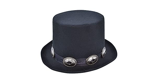 Amazon.com: Sombrero de copa, estilo rockero, color negro ...
