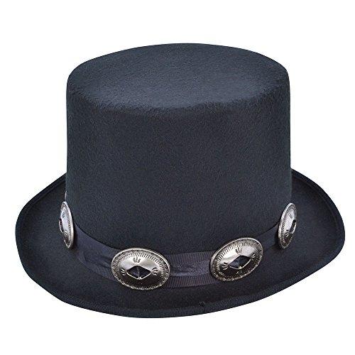 Black Rocker Style Top Hat -