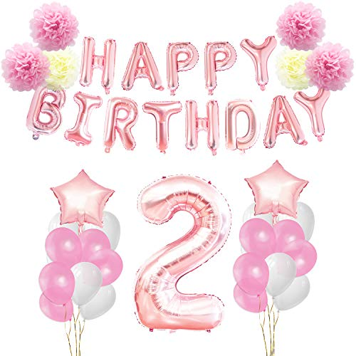 (KUNGYO Birthday Decorations Set - Pink Gold 12nd Happy Birthday Party Decorations Kit for Girls Giant Number 2 Helium Balloons Ribbons Pom Poms )