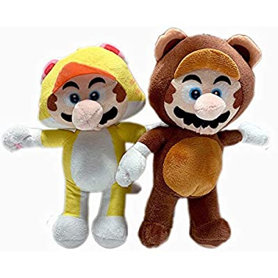 Super Mario 8.5 Inch in Tanooki and Cat Set of 2 Stuffed Plush Doll Toy: Toys & Games
