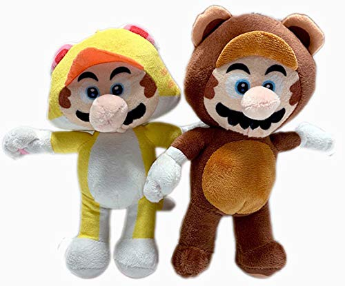 Super Mario 8.5 Inch in Tanooki and Cat Set of 2 Stuffed Plush Doll Toy -