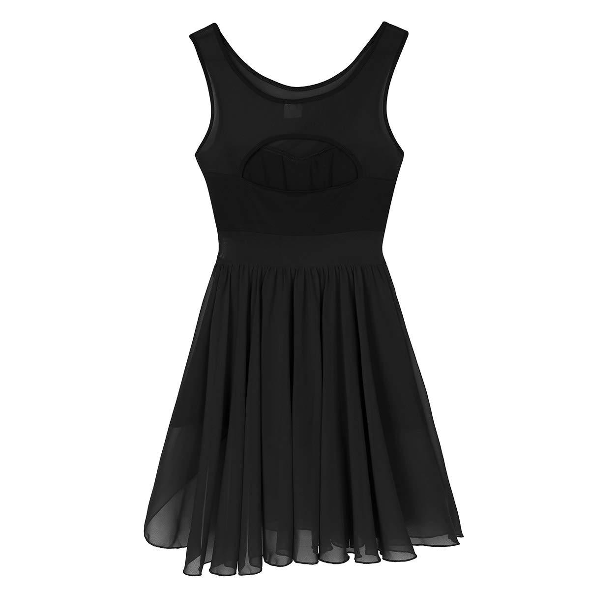 iixpin Women Adult Sleeveless Cut Out Asymmetric Chiffon Stretchy Ballet Dance Gymnastics Leotard Dress