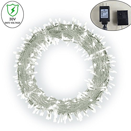 Fairy String Light - Ucharge Led Christmas Light White 200led 30V 8 Modes String Lights Plug in Patio Backyard Christmas Wedding Party Indoor Bedroom String Lights 72ft
