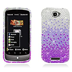 p2s88 Sparkling Silver Purple Gradient Design Full Diamond Rhinestone Snap on Hard Skin Cover Case for HTC ONE S / VILLE