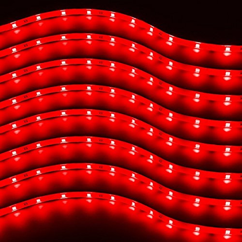 Zento Deals 8 Packs of Trimmable 30cm Red LED Car Flexible Waterproof Light Strips