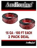 2 Rolls 100 Feet 16 Gauge Audiopipe Red Black 2 Conductor Speaker Wire Zip Cord