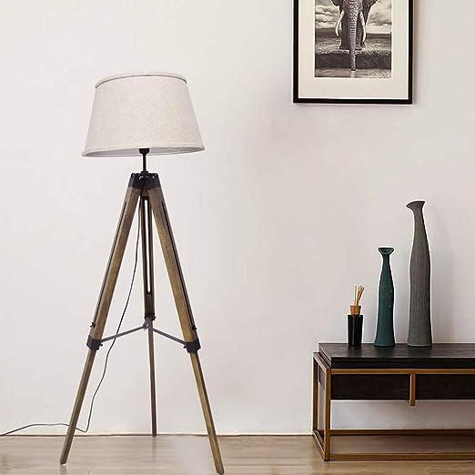 Amazon.com: DLLT Lámpara de pie con trípode LED, de madera ...