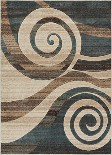 Well Woven Desert Swirl Soft Blue Modern Geometric Spiral Hand Carved 5x7 (5'3