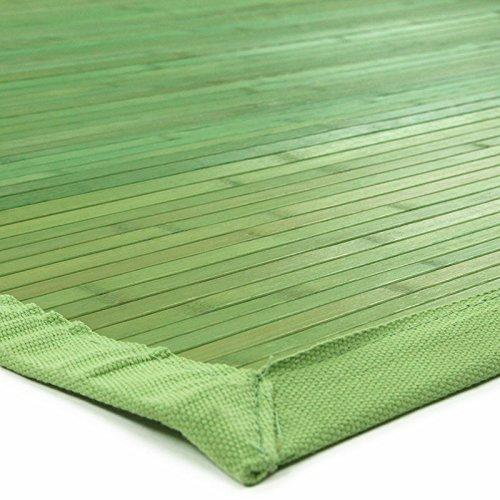 Tapis En Bambou Larges Lattes Et Ganse Vert 180x120cm Solo Bamboo ...