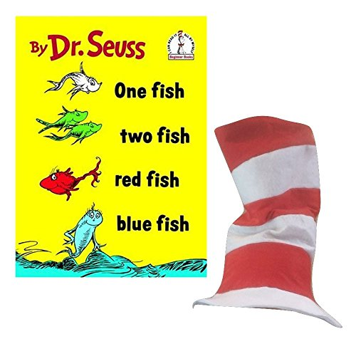 Dr. Seuss Style Hat and Book Bundle - One Fish, Two Fish, Red Fish, Blue fish - Dr Seuss Fish Costume
