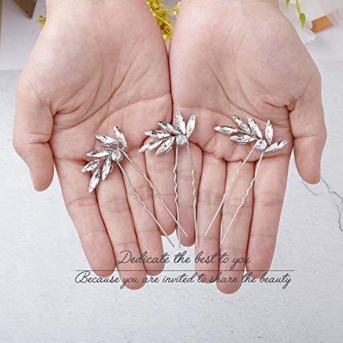 (Olbye Wedding Hair Pins Crystal Bridal Headpieces for Bride and Bridesmaids Wedding Hair Accessories 3PCS (Silver))