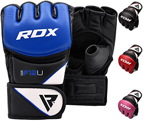 RDX Maya Hide Leather Grappling MMA Gloves UFC Cage Fighting Sparring Glove Training F12 - Large, Blue