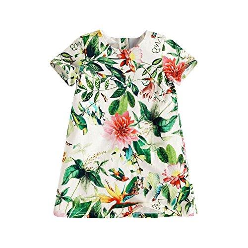 ESHOO 0-5 Years Girls Summer Short Sleeve Colorful Floral Mini Dress
