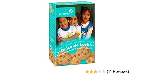 Amazon.com : Girl Scout Cookies Dulce de Leche Caramel Cookies with Caramel Chips - 1 Box of 22 Cookies : Grocery & Gourmet Food