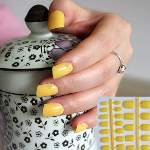 Leo 4beauty 24 Uñas Postizas De Color Amarillo Limón Para