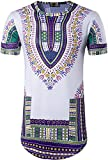 Sportides Mens Traditional African Dashikis Style Slim Fit Short Sleeve T-shirt Tee Tops JZA110 Purple XL