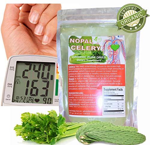 High Blood Pressure Supplement Fluid Retention Kidneys Celery & Nopal (Cactus) Organic Pure Dried Fiber Bag 1/2 Lb.