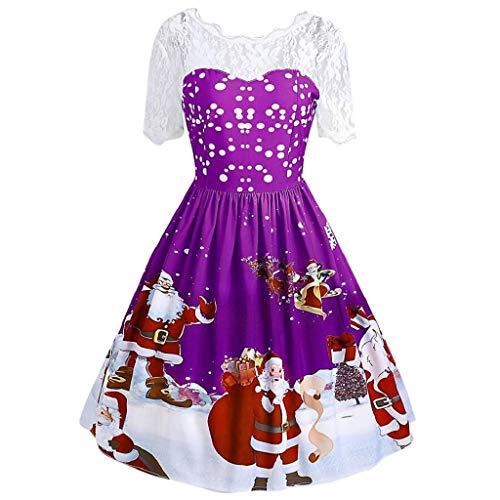 KASAAS Womens Fashion Merry Christmas Vintage Santa Claus Print Lace Short Sleeve Evening Party Dress(8,Purple)