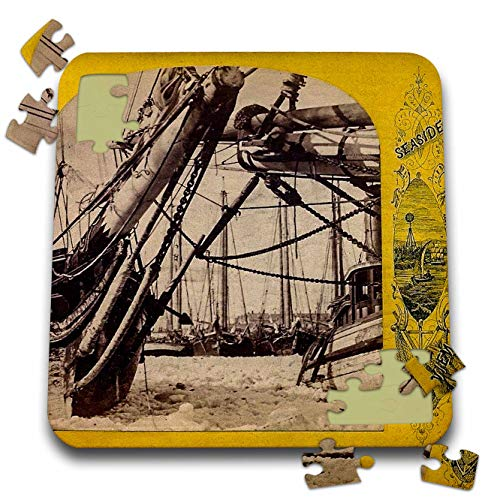 Whaling Boat (3dRose Scenes from The Past - Stereoview - Gloucester Shipping Winter 1870s Massahusetts Vintage Seaside View - 10x10 Inch Puzzle (pzl_300326_2))