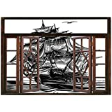 SCOCICI Peel and Stick Fabric Illusion 3D Wall Decal Photo Sticker/Pirate Ship,Nautical Line Art Style Illustration with Vintage Sailboat on Exotic Waters,Black White/Wall Sticker Mural
