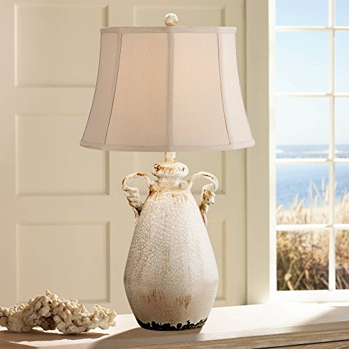 Beige Ceramic Table Lamp - Isabella Cottage Accent Table Lamp Rustic Ivory Ceramic Milk Jar Crackle Beige Bell Shade for Living Room Family Bedroom - Regency Hill