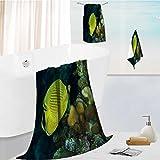 AuraiseHome elegant bath towel set diver yellow fish scuba diving bunaken indonesia sea reef ocean Soft & Absorbent 13.8''x13.8''-11.8''x27.6''-27.6''x55.2''
