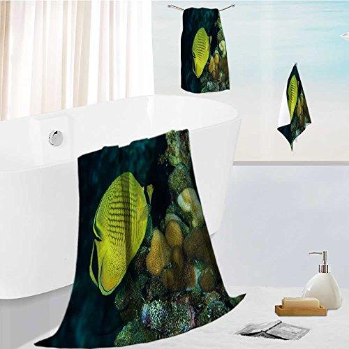 AuraiseHome elegant bath towel set diver yellow fish scuba diving bunaken indonesia sea reef ocean Soft & Absorbent 13.8''x13.8''-11.8''x27.6''-27.6''x55.2'' by AuraiseHome