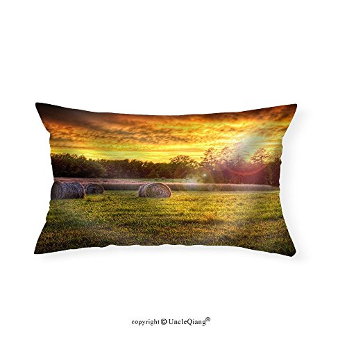 VROSELV Custom pillowcasesBeautiful Sunset Lighting a Field with Hay Rounds Producing Brilliant and Amazing Colors. - Fabric Home Decor(12''x24'') by VROSELV