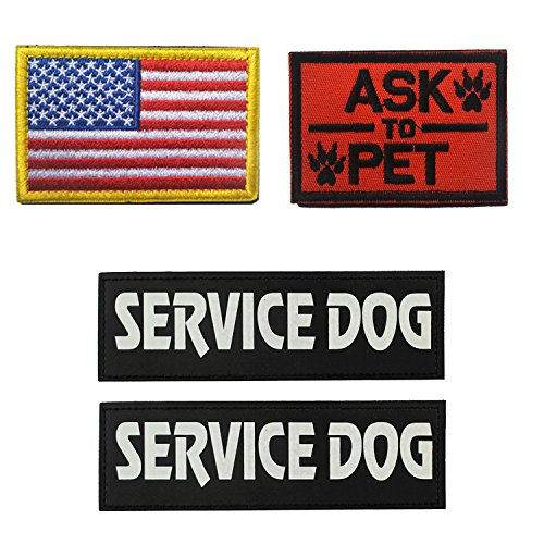 GrayCell Military Morale Service Dog Patch for Pet Tactical K9 Service Harness Vest Pack of 4 (1)