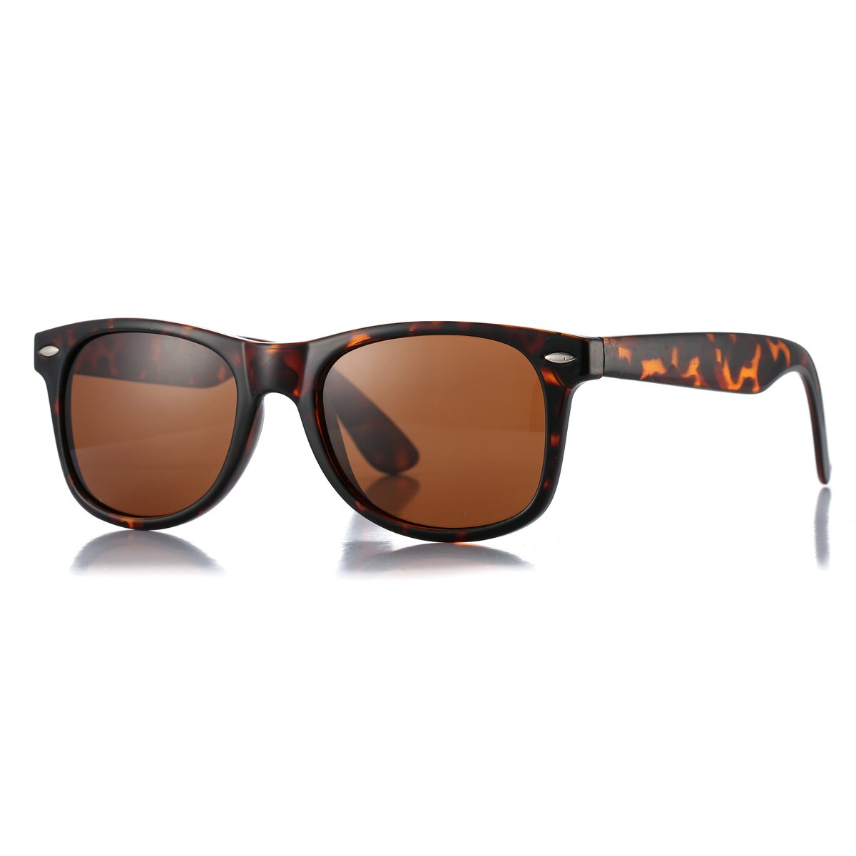 8c2644aac8 Amazon.com  AZORB Classic Polarized Sunglasses Unisex Square Horn Rimmed  Design (Tortoise Brown