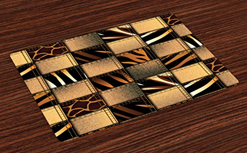 Ambesonne Safari Place Mats Set of 4, Jeans Denim Patchwork in Safari Style Wilderness Stylized Design Art Print, Washable Fabric Placemats for Dining Room Kitchen Table Decor, Brown and Black