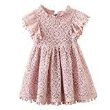 Kids Girl Hollow Lace Dress pom pom Short Sleeve Princess Frilled Waist Dress (2-3T, Pink Red)
