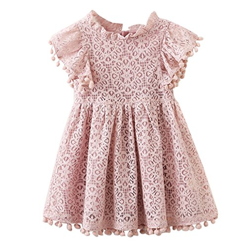 Kids Girl Hollow Lace Dress pom pom Short Sleeve Princess Frilled Waist Dress (2-3T, Pink Red) by puseky