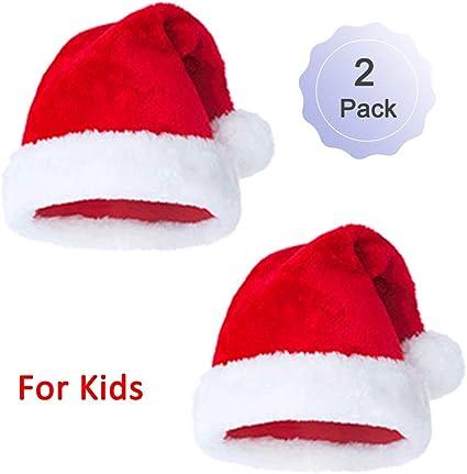 Sombrero de Papá Noel de felpa para Navidad, diseño de felpa, color rojo y blanco: Amazon.es: Hogar
