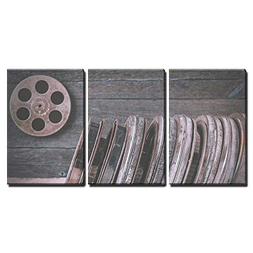 wall26 - 3 Piece Canvas Wall Art - Stack of Reels of Old Mov