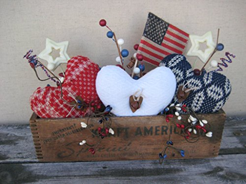 Primitive Patriotic Antique Coverlet Hearts with American Flag in a Vintage Kraft Cheese Box Americana Table Holiday Decoration