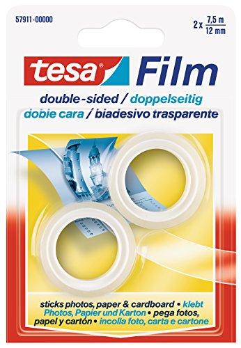 Tesa 57911-00000-00 Doppelseitiges Klebeband, 2 Rollen