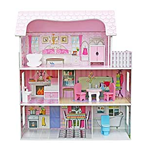Teekland Large Children's Wooden Dollhouse Kid House Play Pink with Furniture