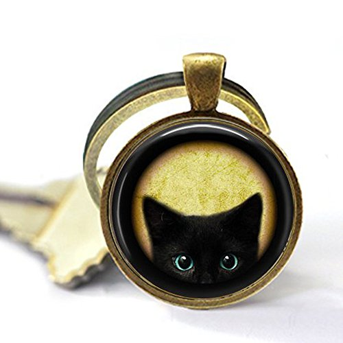 Black Kitten Keychain - Cat Lover Jewelry - Black Cat Keychain - Chat Noir - Peeking Cat Keychain - Kitten Jewelry - Kitty Cat