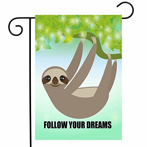 ShineSnow Funny Sloth Tree Green Yard Garden Flag, Home House Decor Welcome Flag Polyester Spring Summer Follow Your Dreams Double-sided Banners for Patio Lawn Garden Indoor Outdoor-12 x 18 Inch by ShineSnow