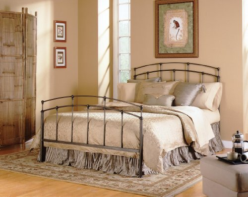 - Fashion Bed Group Fenton Complete Metal Bed and Steel Support Frame with Gentle Curves, Black Walnut Finish, Twin