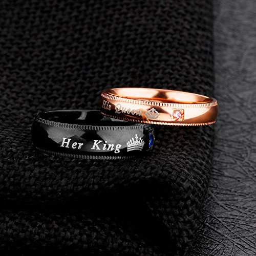 Fate Love Jewelry 2Pcs Matching set Stainless His Queen & Her King Black/Rose Gold Couple Rings Bands, Love Gift by Fate Love Jewelry (Image #3)