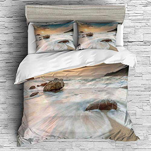 Cotton Bedding Sets Duvet Cover with Pillowcases Printed Comforter Cover Sets(King Size) Seaside Decor,Grand Sea Waves on The Beach and Horizon Sky Holiday Calm Dream Light Season Photo,Cream Blue Wh